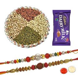 Godly Pavitra Rakhi Set With Dairy Milk Chocolate , Mix Dry Fruits, Set Of Roli Chaval (Tilak)