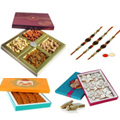 Holy Pavitra Rakhi Set With Motichoor Laddoo, Mix Dry Fruits, Kaju Katli, Set Of Roli Chaval (Tilak)