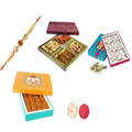 Devine Prince Rakhi With Mix Dry Fruits, Kaju Katli, Motichoor Laddoo, Set Of Roli Chaval (Tilak)