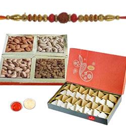 Beguiling Prince Rakhi With Mix Dry Fruits, Kaju Katli, Set Of Roli Chaval (Tilak)