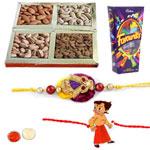 Lovely Bhaiya And Munna Rakhi, Mix Dry Fruits, Cadbury Favourites With Set Of Roli Chaval (Tilak)
