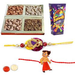 Lovely Bhaiya And Munna Rakhi, Mix Dry Fruits, Cadbury Favourites With Set Of Roli Chaval (Tilak)