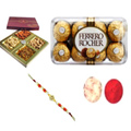 Good-Looking Rakhi, Mix Dry Fruits, Ferrero Chocolate With Set Of Roli Chaval (Tilak)