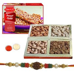 Stunning Rudraks Rakhi, Dry Fruits, Peanut Chikki With Set Of Roli Chaval (Tilak)