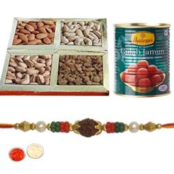 Pretty Rudraks Rakhi, Dry Fruits, Gulam Jamun With Set Of Roli Chaval (Tilak)   With Set Of Roli Chaval (Tilak)