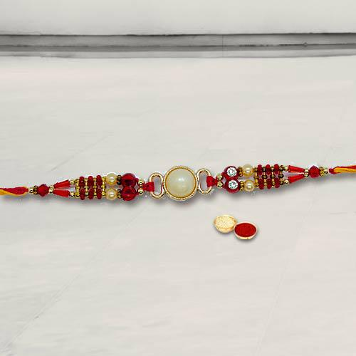 Charming White Moti Rakhi