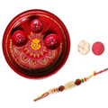 Elegant Moti Rakhi With Decorative Thali
