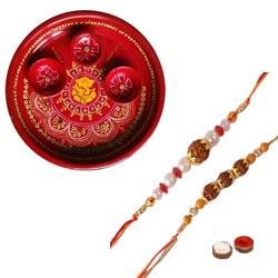 Captivating Combo of Rakhi Thali With Two Bhaiya Rakhi