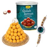 Admirable Arrangement of Rakhi with Sweets Gift<br>
