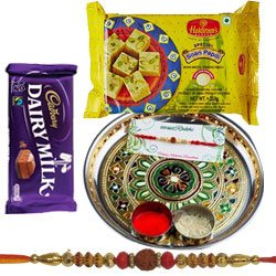 Exotic Rakhi Gift of Soan Papdi, Traditional Thali N Dairy Milk Chocolate