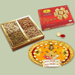 Glamorous Selection of Bhaiya Rakhi, Soan Papdi, Mixed Dry Fruits N Traditional Thali