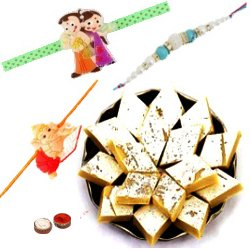 Breathtaking Gift of Three Rakhi with Lots of Sweetness