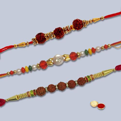 Magnificent Triple Rakhi Gift Collection