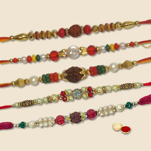 Scintillating Selection of 5 Pc Family Rakhi Set