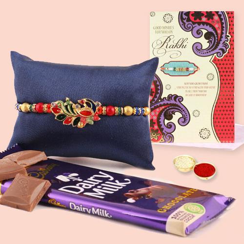 Admirable Gift of Rakhi, Cadbury Dairy Milk, Roli Chawal n Rakhi Card