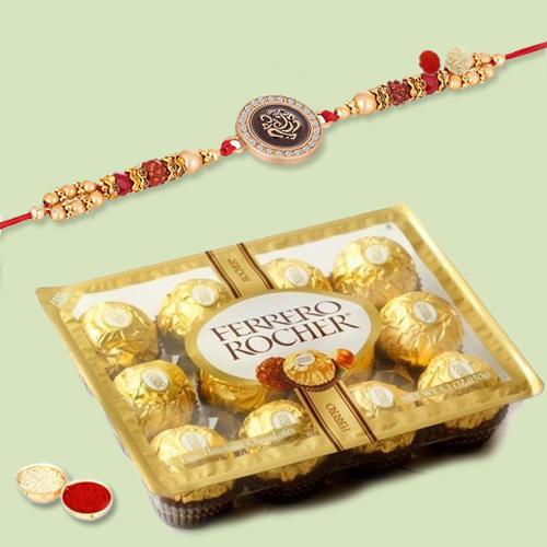 Beautiful Combo of Rakhi, Ferrero Chocolates, Roli Chawal and Rakhi Card