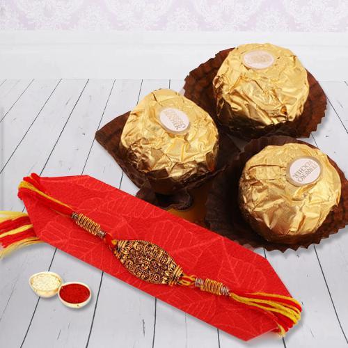 Attractive Rakhi with Ferrero Chocolate and Free Rakhi Card