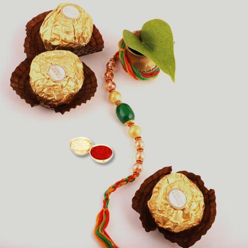 Astonishing Combo of Rakhi, Ferrero Chocolates, Free Roli Chawal and Rakhi Card