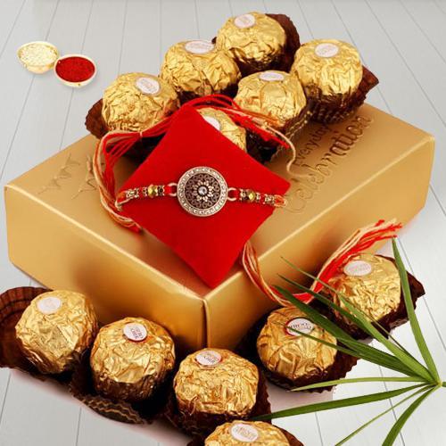 Delicious Ferrero Chocolate with Fancy Rakhi, Free Roli Chawal N Card