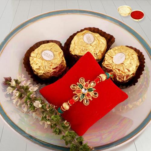 Charismatic Gift of Rakhi, Ferrero Rocher, Free Roli Chawal and Rakhi Card