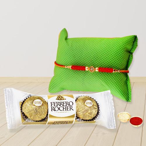 Yummy Ferrero Chocolate with Rakhi, Free Roli Chawal and Rakhi Card