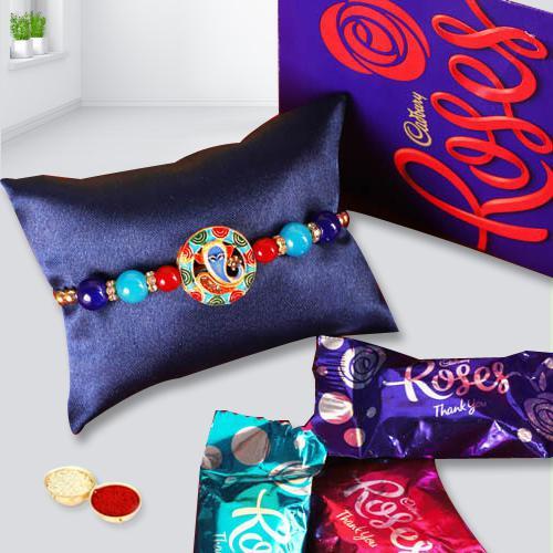 Delicious Cadbury Roses with Rakhi, Free Roli Chawal and Rakhi Card