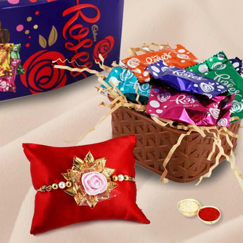 Fancy Rakhi, Cadbury Roses with Free Roli Chawal and Rakhi Card