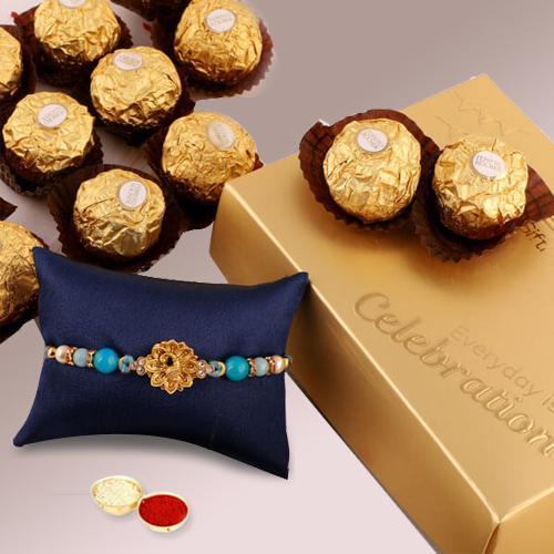Classy Combo of Rakhi with Ferrero Rocher, Roli Chawal and Card