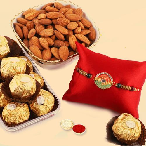 Exciting Combo of Ferrero Rocher, Almonds with Fancy Rakhi
