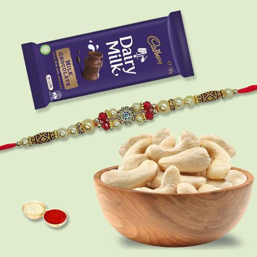 Attractive Combo of Rakhi, Cadbury Dairy Milk and Cashews