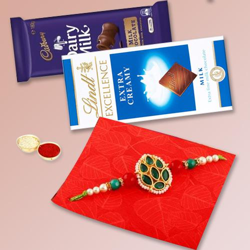 Attractive Combo of Rakhi N Chocolates Selection