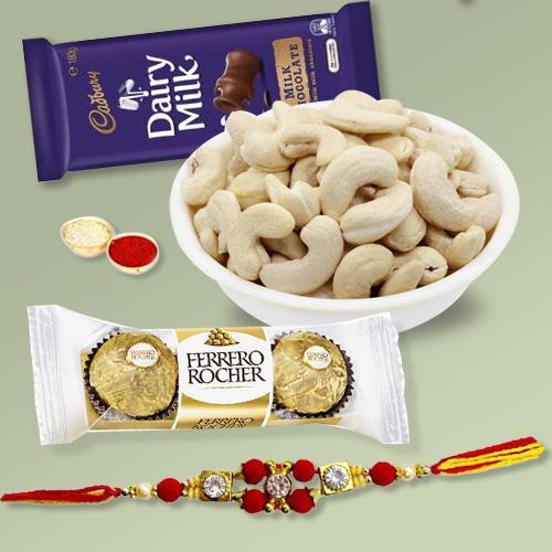Charming Combo of Rakhi, Chocolates and Crunchy Nuts