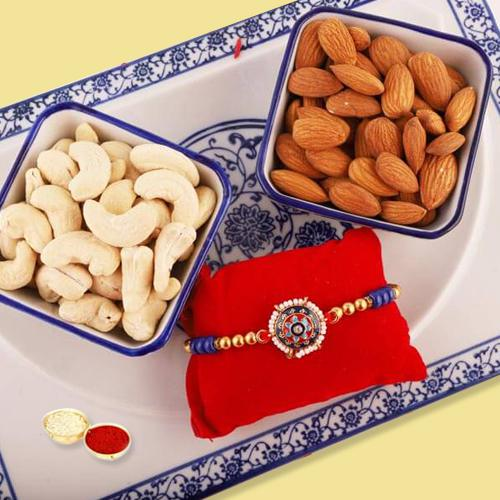 Elegant Rakhi with Healthy Treat of Cashews and Almonds