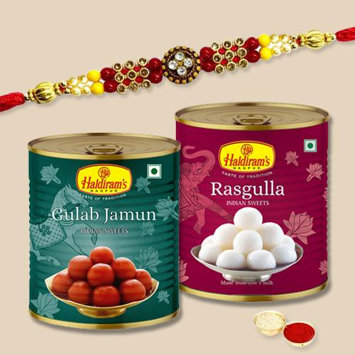 Attractive Gift of Rakhi N Sweets with Free Roli Chawal