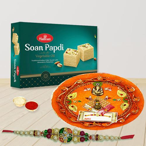 Designer Thali with Fancy Rakhi and Soan Papdi
