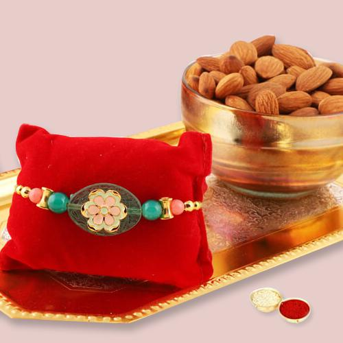 Gaudy Rakhi with Almonds, Free Roli Chawal and Message Card