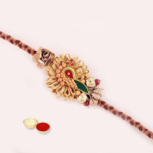 Elegant Rakhi, Holy Teeka of Roli Chawal and Rakhi Card Free