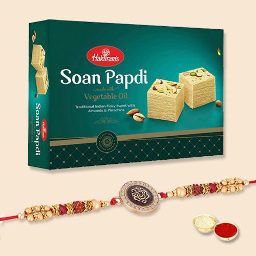 Beautiful Rakhi, Free Roli Tika N Rakhi Card with Soan Papdi