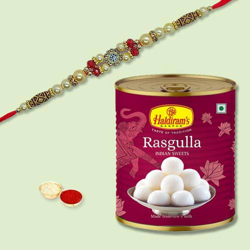 Yummy Rasgulla and Rakhi with Free Roli Chawal, Rakhi Card