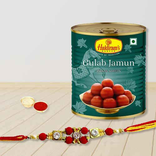 Enticing Gulabjamun with Rakhi, Free Roli Chawal and Wishes Card