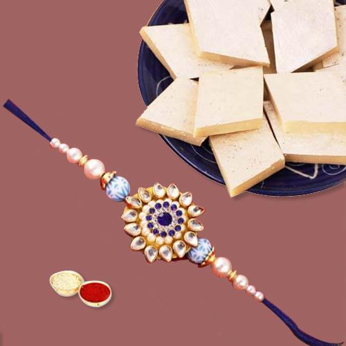 Appealing Rakhi Gift with Kaju Katli, Free Roli Chawal and Wishes Card