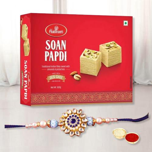 Fancy Rakhi and Soan Papdi with Free Roli Chawal, Rakhi Card