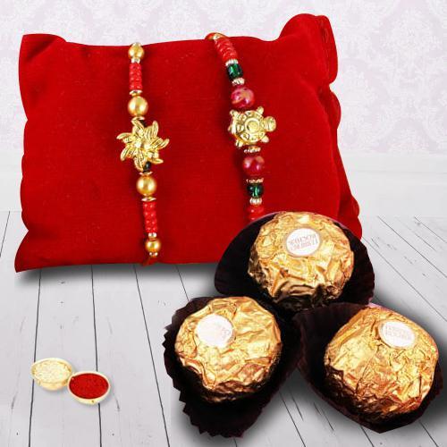 Yummy Ferrero Rocher and 2 Rakhis with Free Roli Chawal and Rakhi Card
