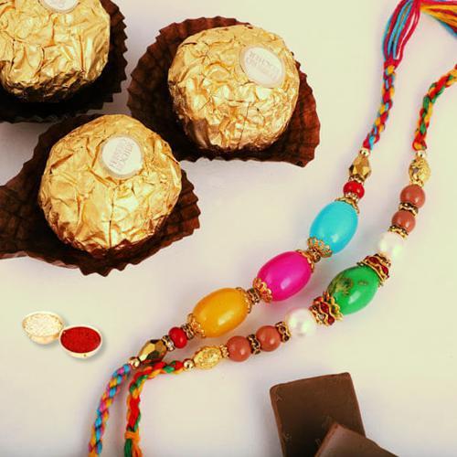 Delicious Ferrero Rocher with 2 Rakhis, Roli Chawal N Rakhi Card