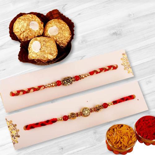Holy Set of 2 Rakhis, Ferrero Chocolate, Free Roli Tika and Rakhi Card