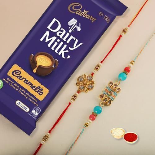 Auspicious Set of 2 Rakhis, Roli Tilak, Free Card N Cadbury Dairy Milk