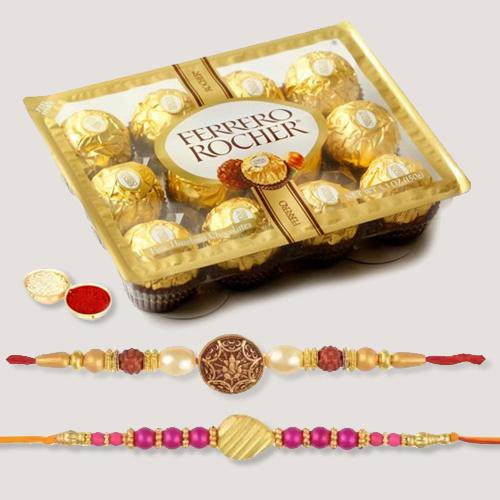 Exclusive Set of 2 Rakhis, Ferrero Chocolate N Free Roli Tilak