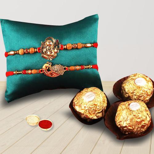 Designer 2 Rakhis, Rocher Chocolates, Free Roli Tika and Wishes Card