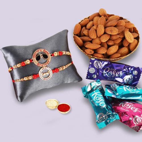 2 Lovely Rakhis, Cadbury Roses, Almonds N Free Roli Tika, Rakhi Card