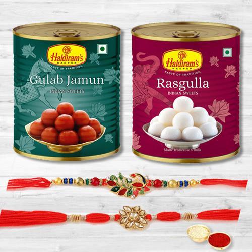 Delicious Gulabjamun  N  Rasgulla with 2 Rakhis N Message Card